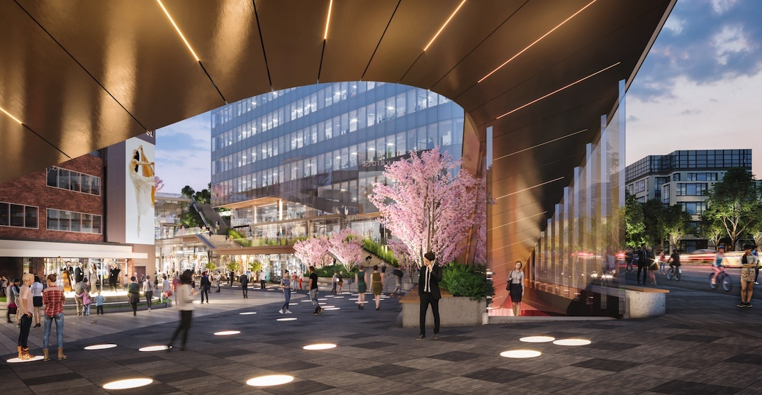 Revised concept slims down new entrance into Oakridge Centre, Canada Line station (RENDERINGS)
