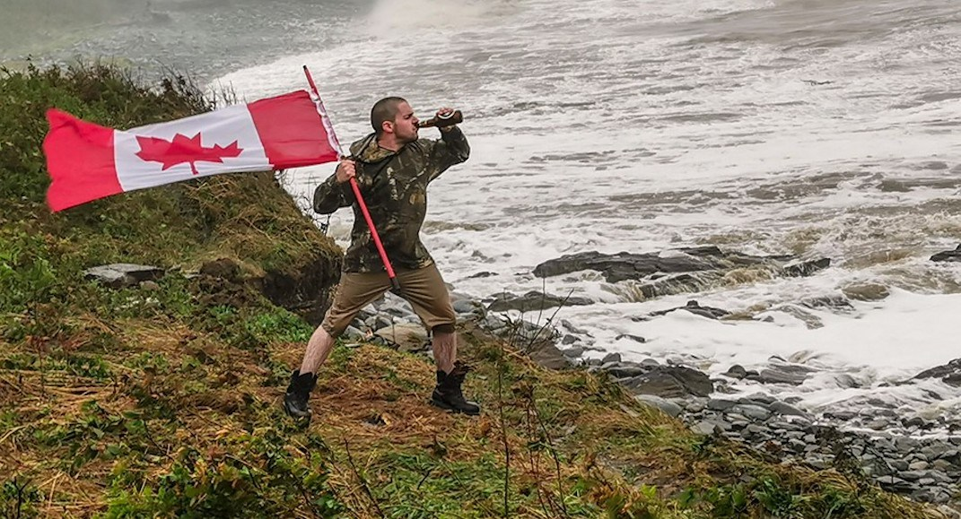 Beer-drinking Canadian man braves Hurricane Dorian in viral photo