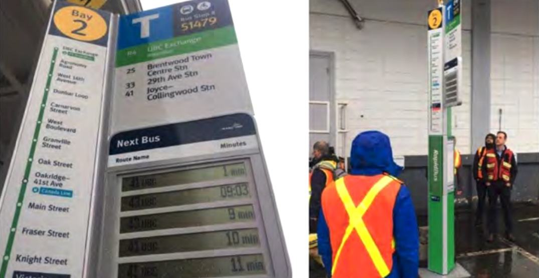 New posts for TransLink's RapidBus stops include real-time next bus display