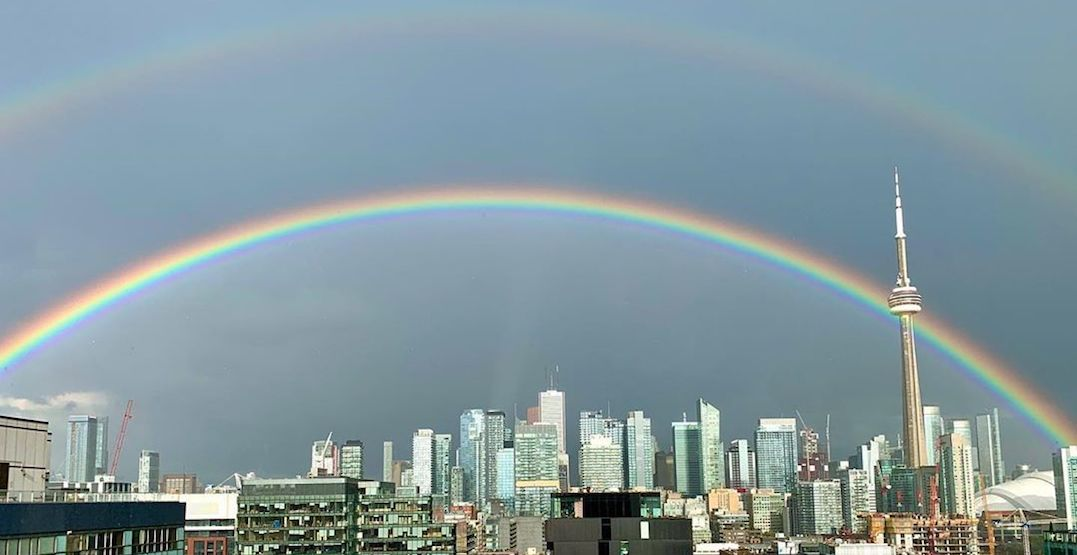 A stunning double rainbow stretched over Toronto yesterday afternoon (PHOTOS)