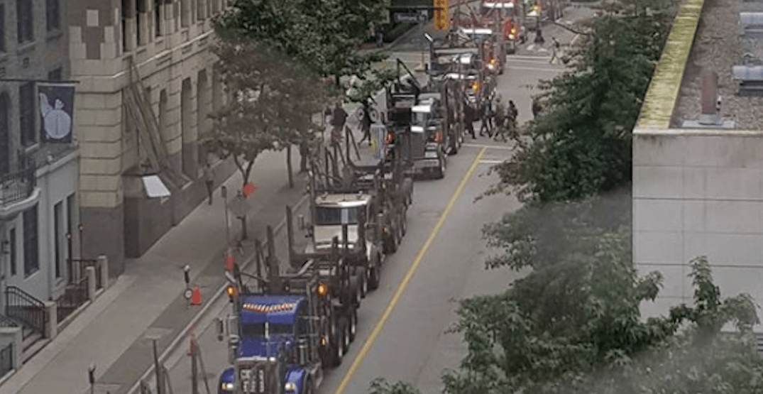 Over 200 logging trucks took over downtown Vancouver on Wednesday (VIDEOS)