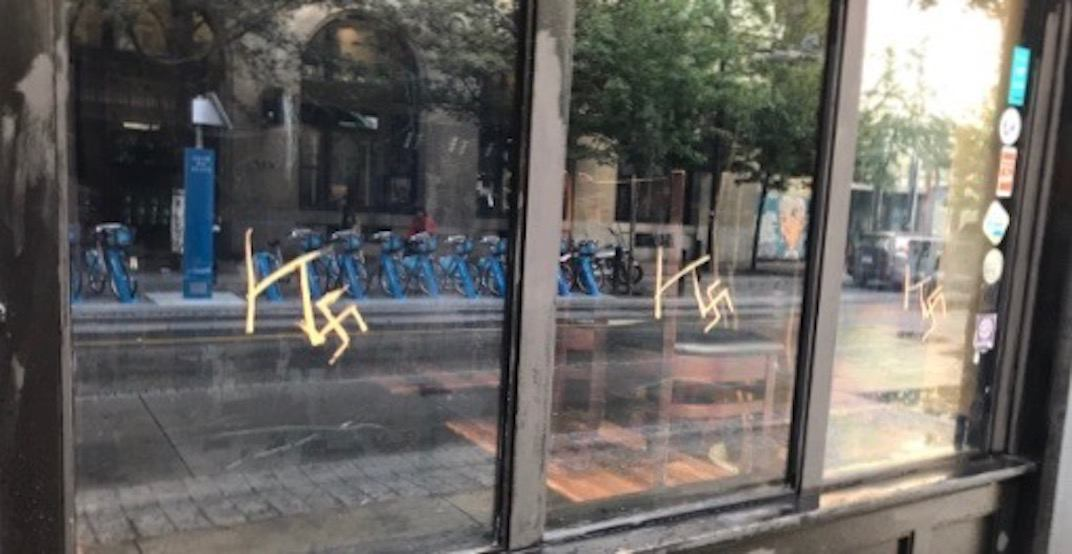 Racist graffiti found on windows of downtown Vancouver eatery