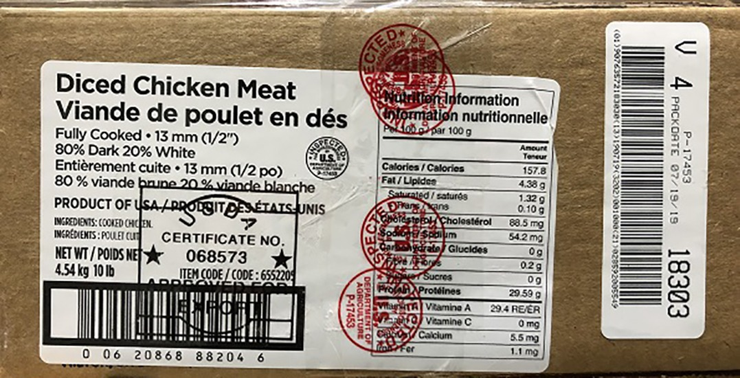 Diced chicken recalled across Western Canada over Listeria contamination