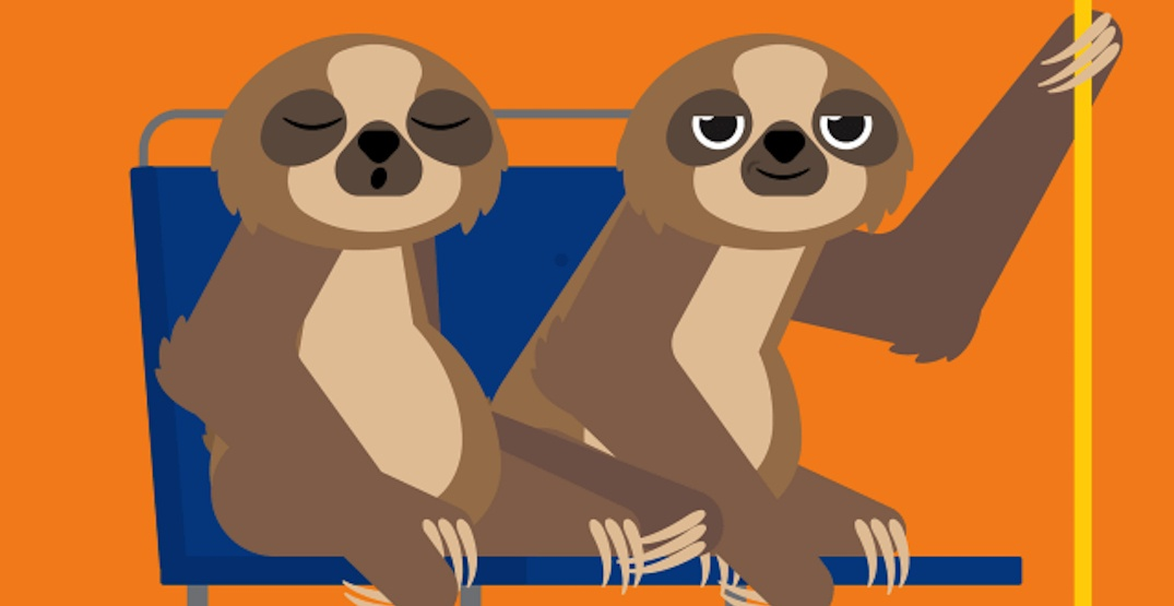 Cartoon animals reminding TransLink riders to 'take it slow' to prevent injuries