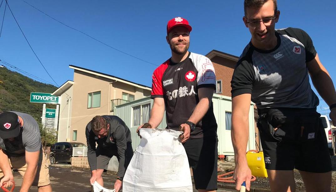 Canadian rugby team help clean up Typhoon Hagibis damage after cancelled game (PHOTOS)