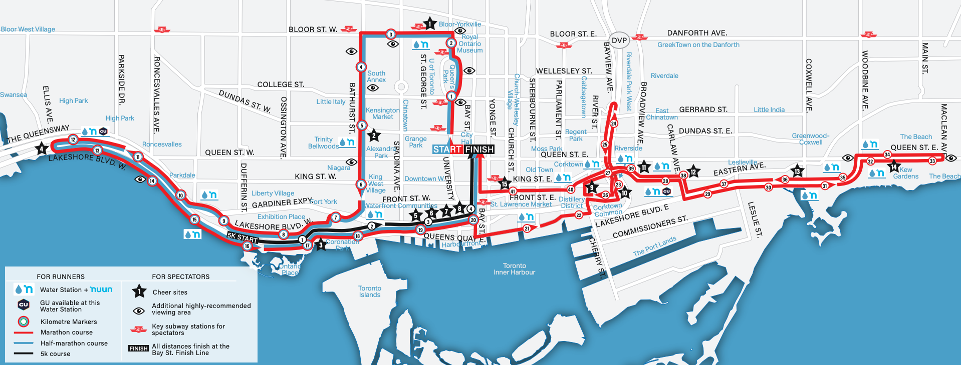 toronto road closures waterfront marathon