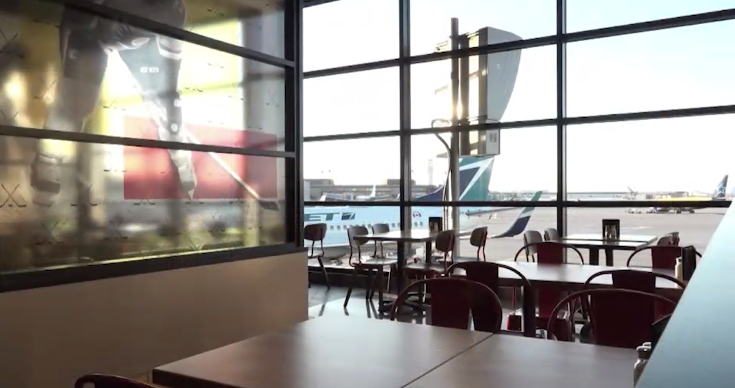 A Flames-themed restaurant is now open at the Calgary International Airport