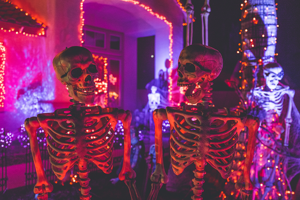 Neon Halloween Skulls
