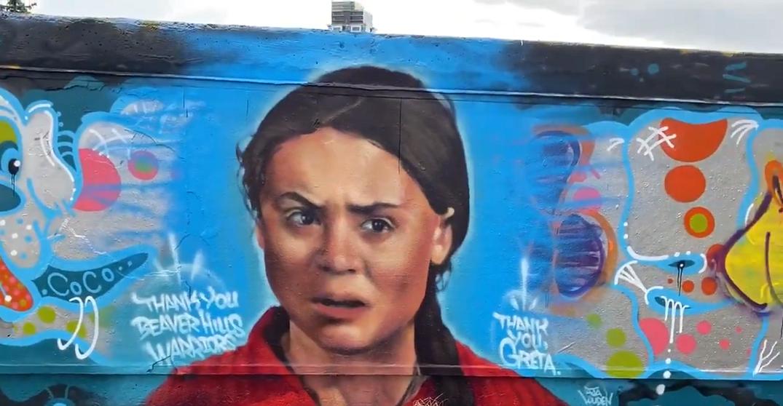 Mural of climate activist Greta Thunberg defaced in Edmonton