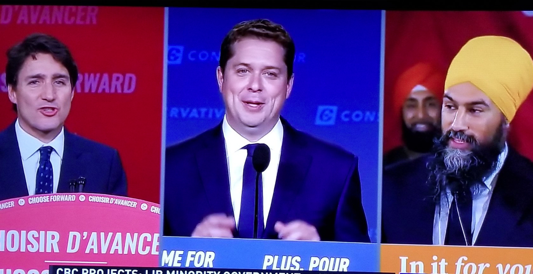 Uncoordinated Trudeau, Scheer, and Singh give post-election speeches at same time