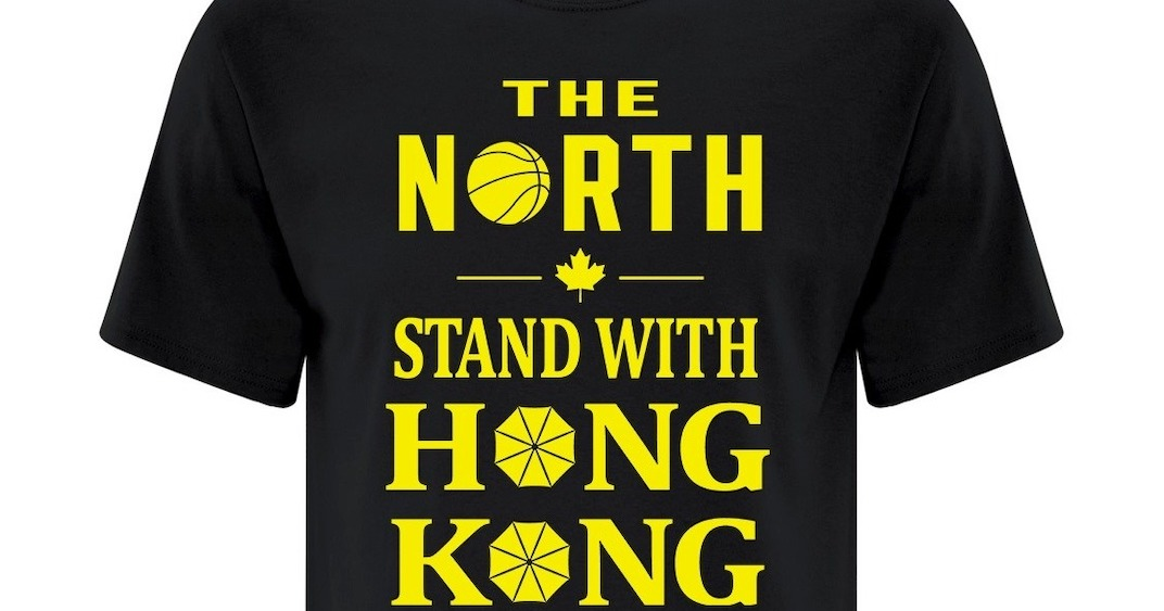 Activist group giving away shirts supporting Hong Kong at Raptors home opener