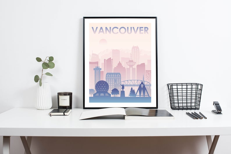 Vancouver poster art / Etsy Canada