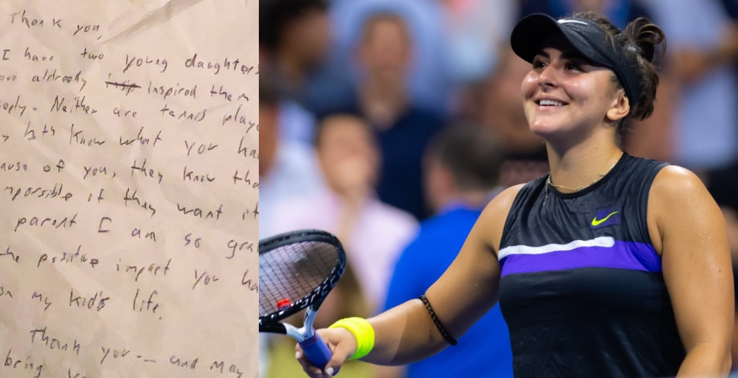 Bianca Andreescu shares touching letter written to her on an airplane napkin