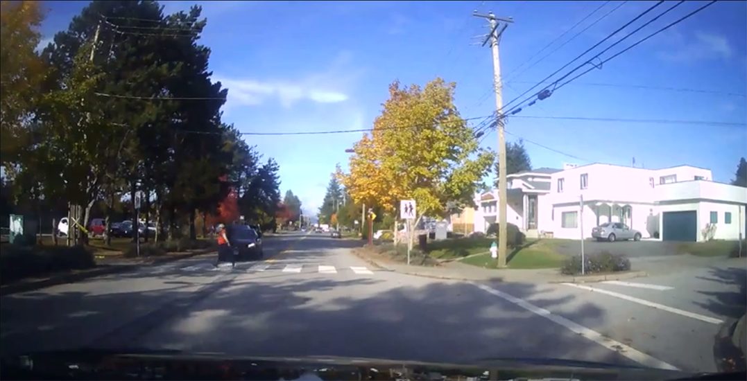 Pedestrian narrowly dodges car hit from behind at marked crosswalk (VIDEO)