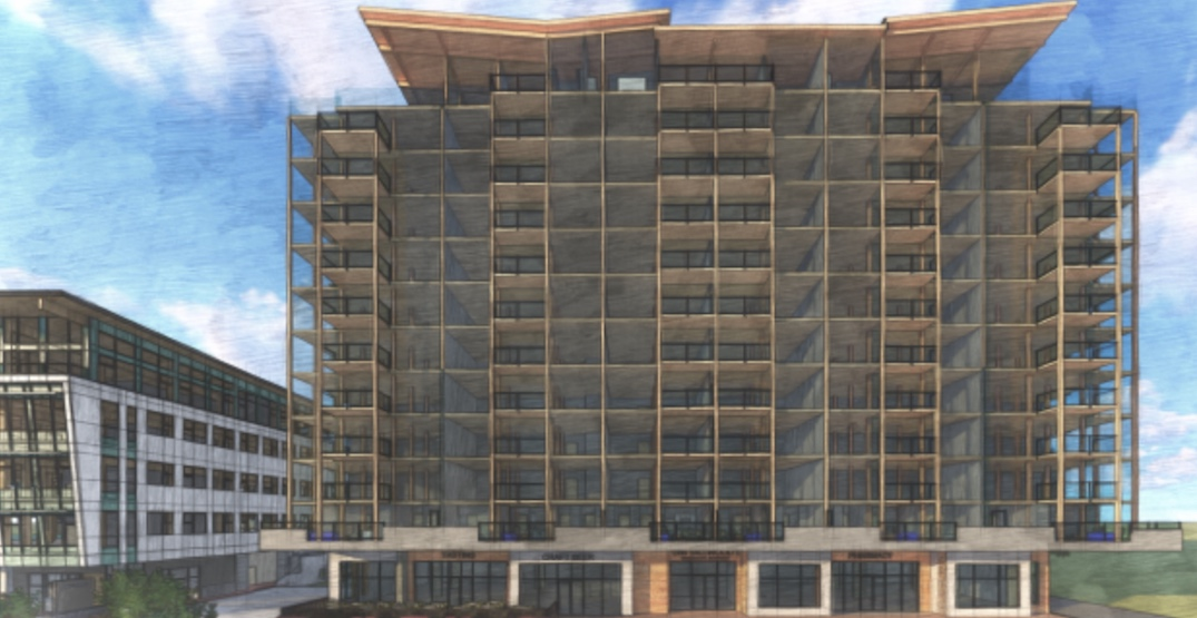 12-storey tall wood building being constructed on Vancouver Island