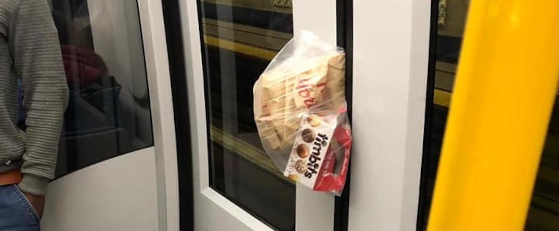 Tim Hortons wedged between SkyTrain doors on October 24, 2019.