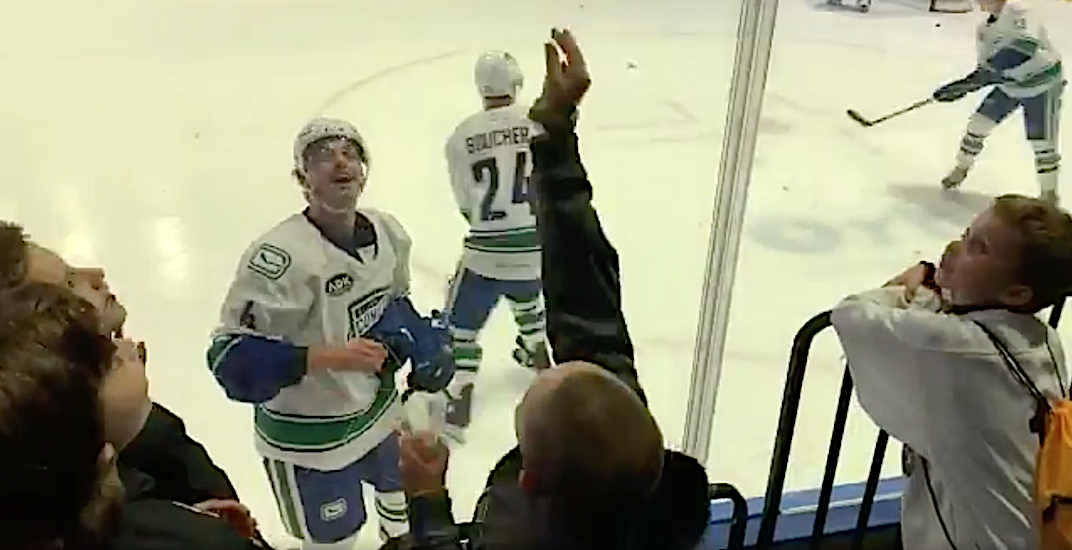 Canucks prospect trades puck for kid's Halloween candy pre-game (VIDEO)