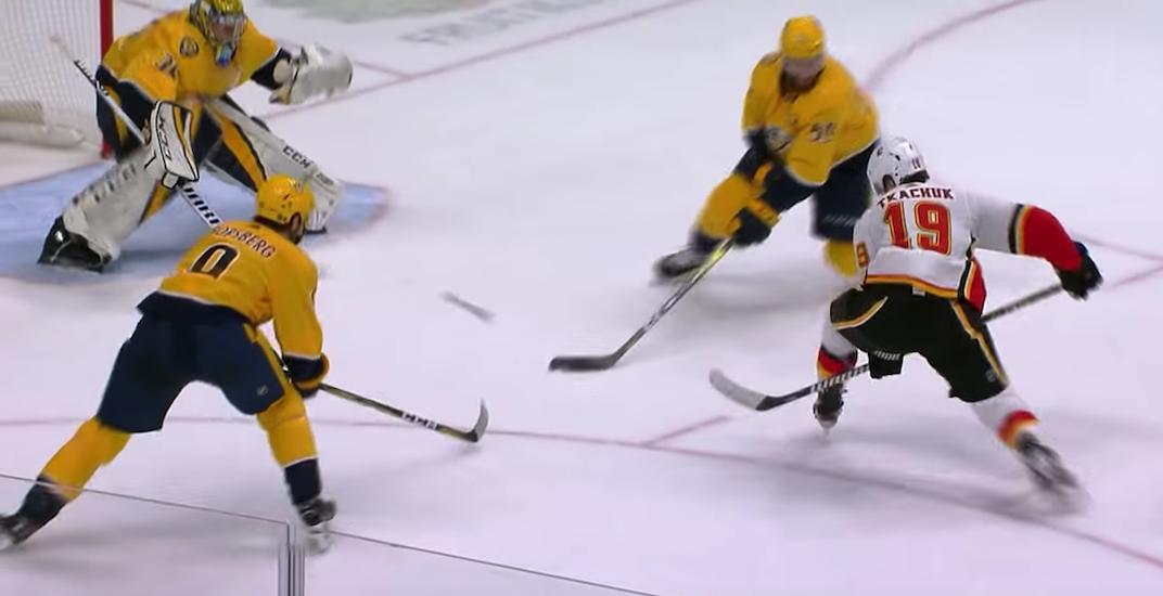 Flames fans react to Tkachuk's ridiculous between the legs OT goal
