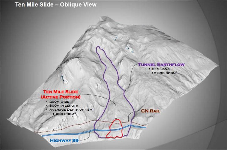 Ten Mile Slide along Highway 99 near Lillooet
