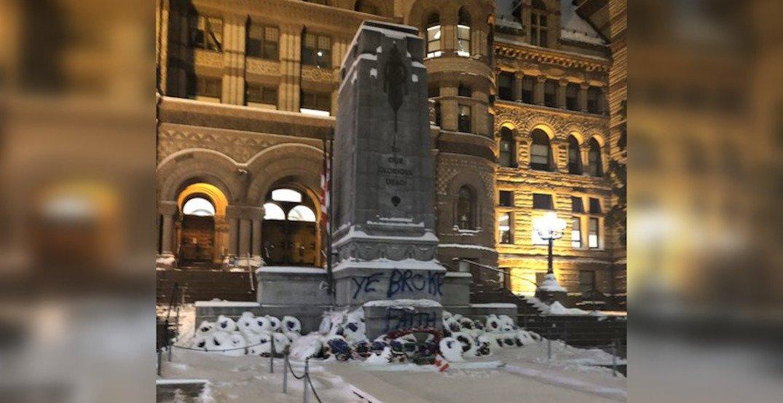Toronto Old City Hall cenotaph vandalized overnight