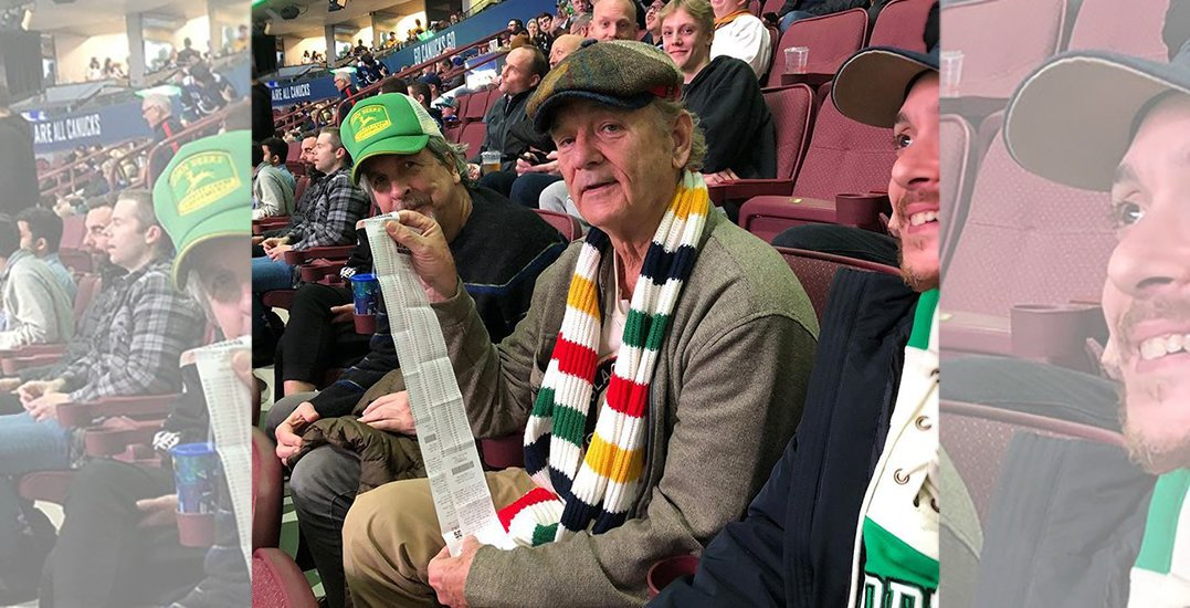 Comedic legend Bill Murray spotted at Tuesday's Vancouver Canucks game