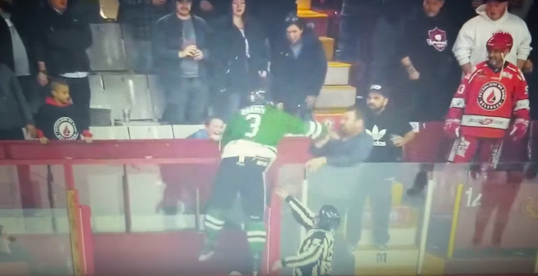 Semi-pro hockey player attempts to jump into stands to fight spectator (VIDEO)