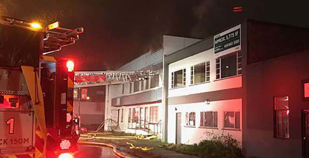 Man dead after 3-alarm fire at industrial building in Vancouver