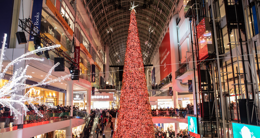 Toronto's 108-foot Christmas Tree was unveiled at the Eaton Centre last night (PHOTOS)