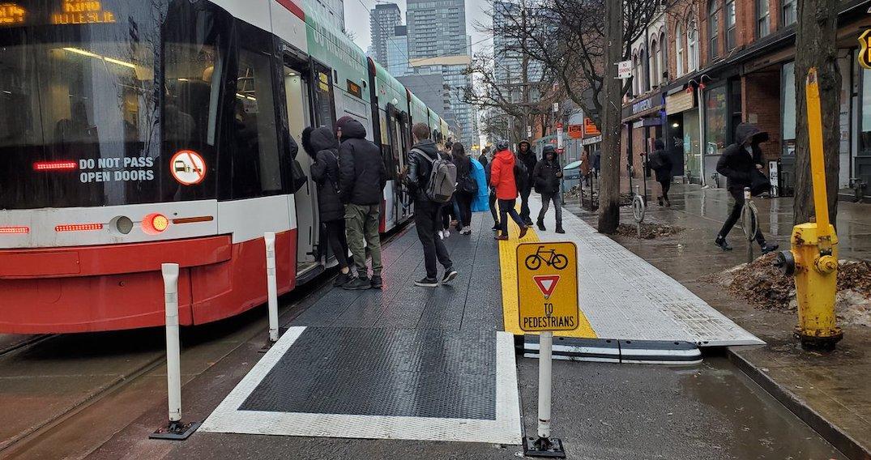 New raised transit stop platforms on King Street make it easier to board streetcars