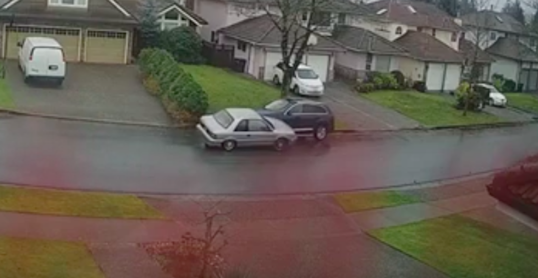 Burnaby driver slams head-on into parked car, drives away (VIDEO)