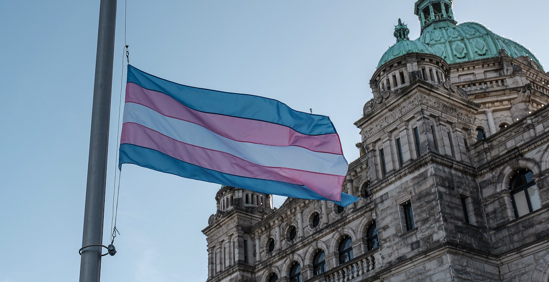 Trans flag raised at BC legislature to observe Day of Remembrance