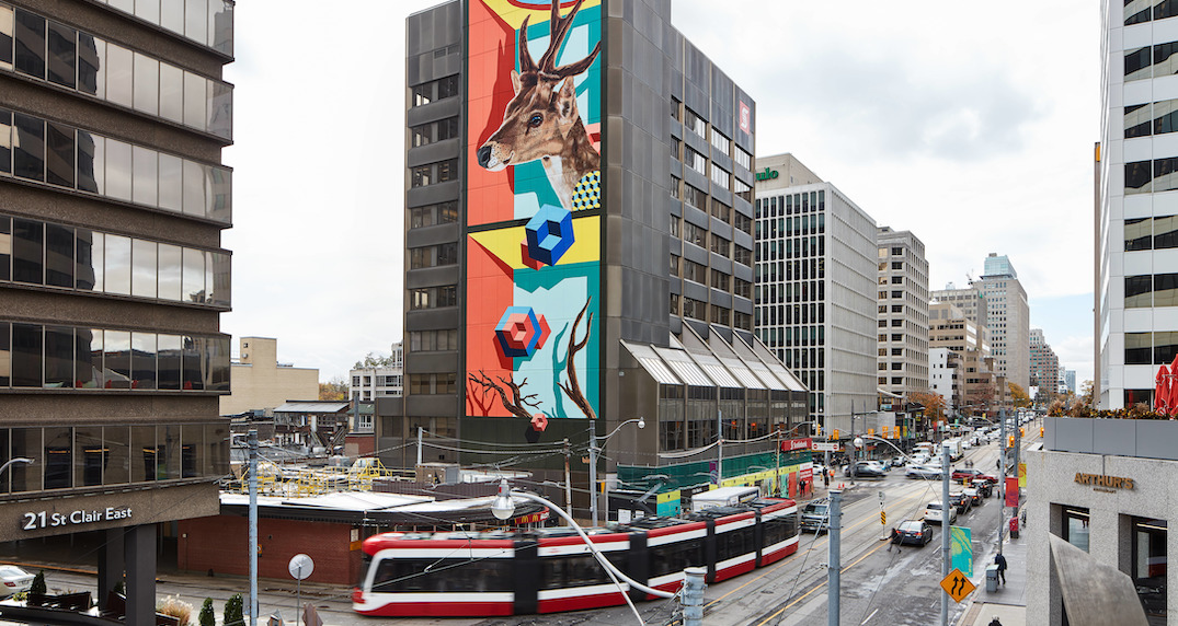 A colourful 10-storey mural has popped up in the north end of Toronto