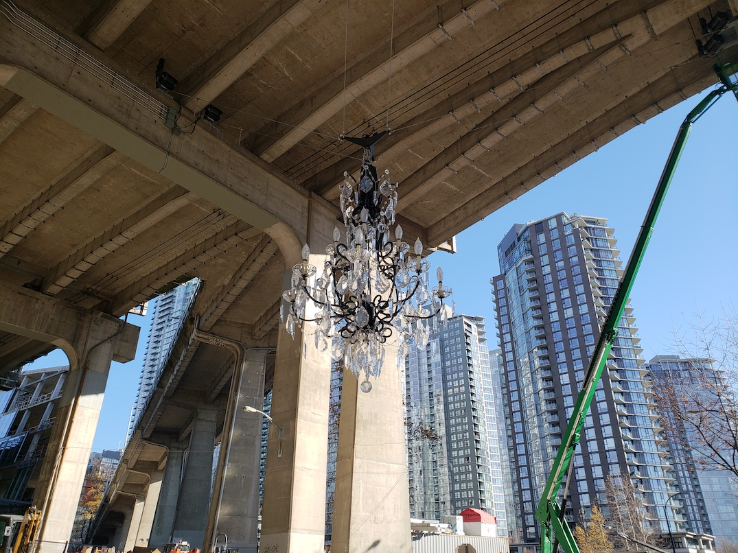 vancouver house spinning chandelier