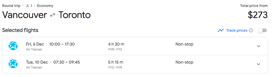 Vancouver to Toronto