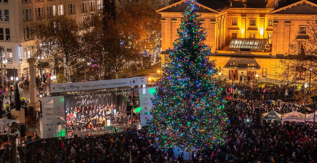 Portland's massive tree lighting ceremony is celebrating its 35th year this weekend