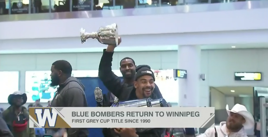 Grey Cup broken in two by celebrating Winnipeg Blue Bombers (VIDEO)