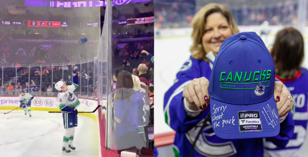 Pettersson gifts autographed Canucks hat to fan hit by flying puck in Philly (VIDEO)