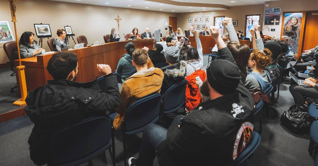 Catholic School Trustee meeting abruptly ends after calls from demonstrators to address racism