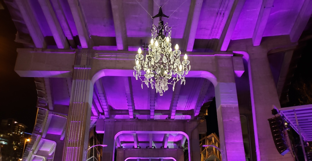 Spinning Chandelier under Granville Bridge makes its first rapid whirls (VIDEO)
