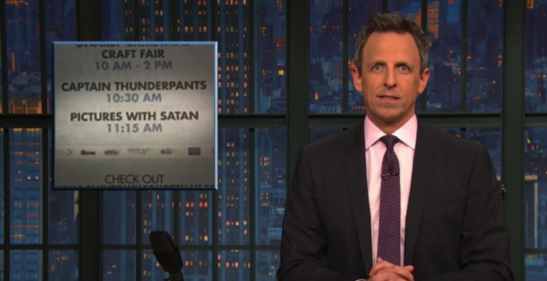 "Canadian newspaper's ""Pictures with Satan"" typo appears on Late Night with Seth Meyers"