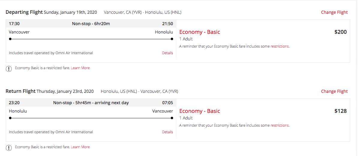 Air Canada flight deal