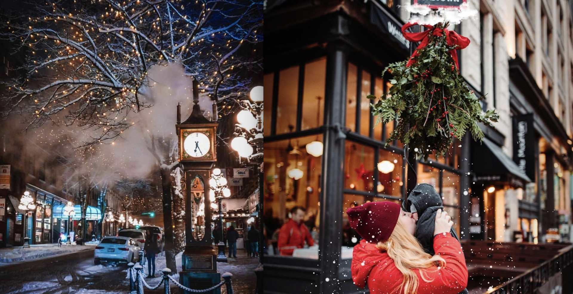 Gastown will be filled with carolling, holiday projections, and mistletoe booths this month
