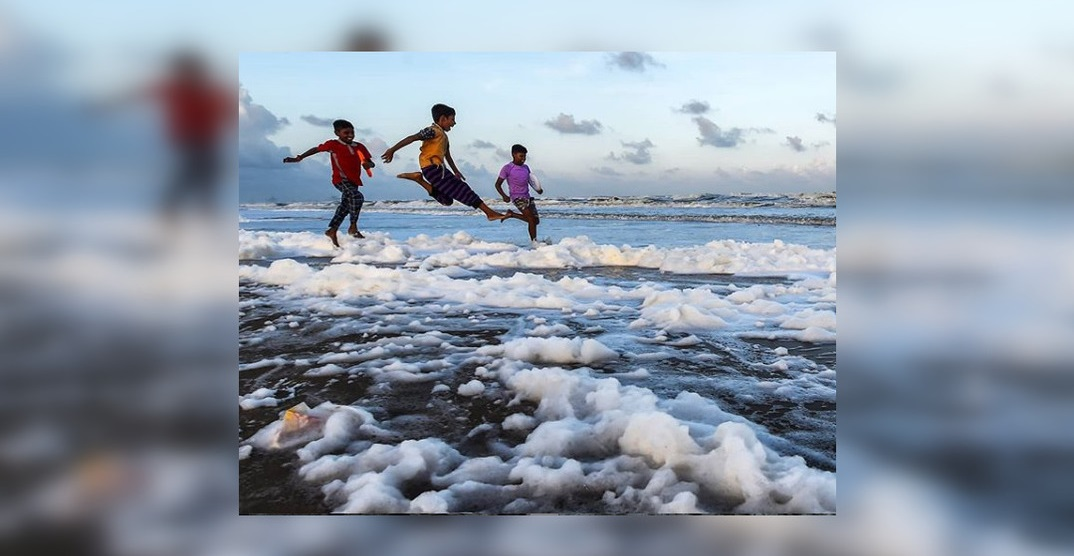 India's Marina Beach is covered in toxic white foam (PHOTOS)