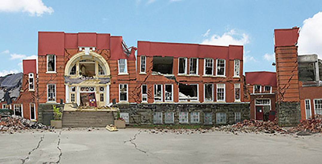 Artist creates rendering of Vancouver elementary school post-earthquake (PHOTO)