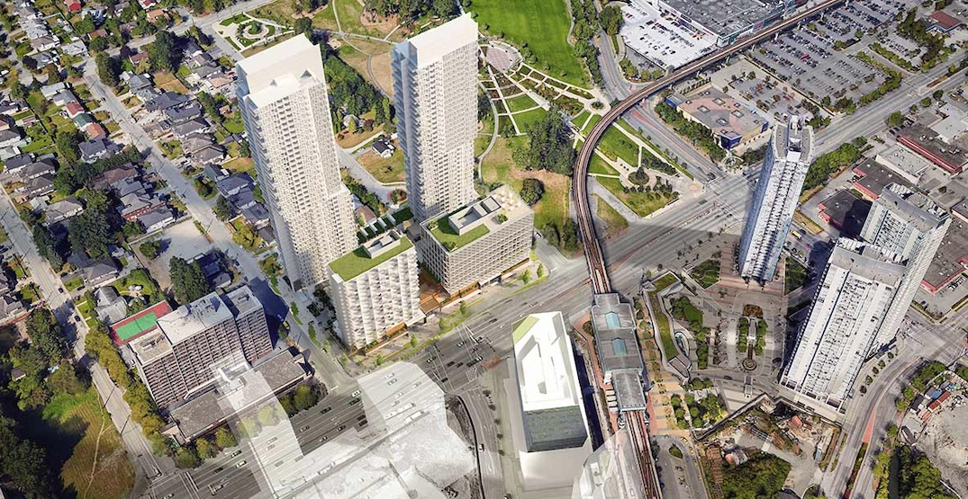 4 residential and office towers proposed for site next to King George Station in Surrey