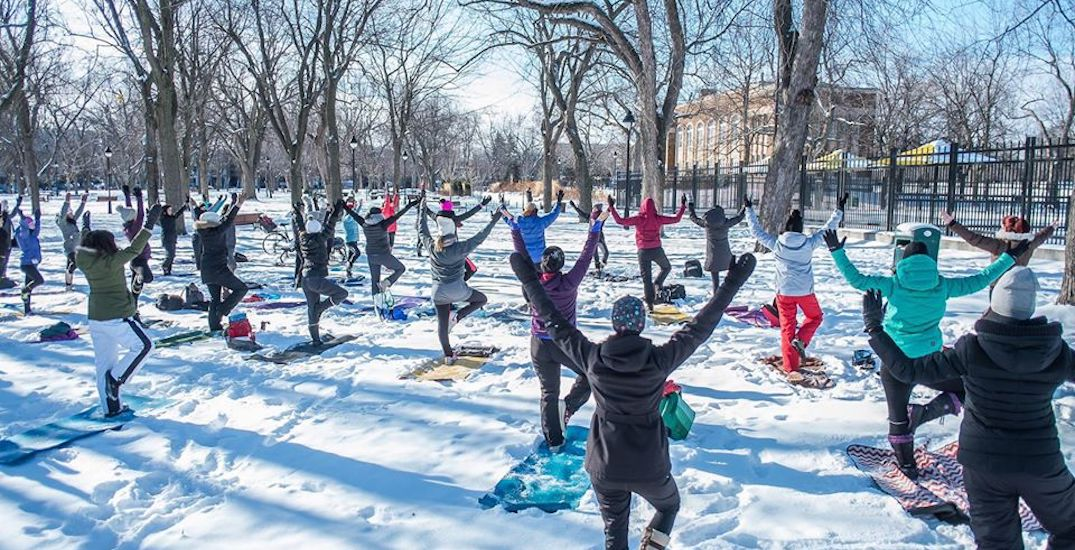 You can take FREE outdoor snow yoga classes in Montreal this winter