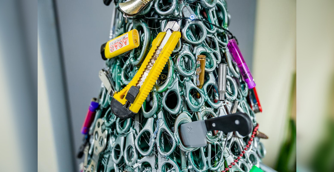 This airport created a Christmas tree made of confiscated items