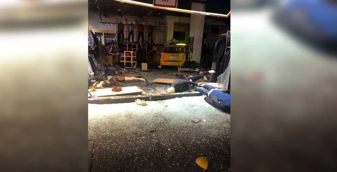 Taxi crashes through window of Sasso Moda store in downtown Vancouver