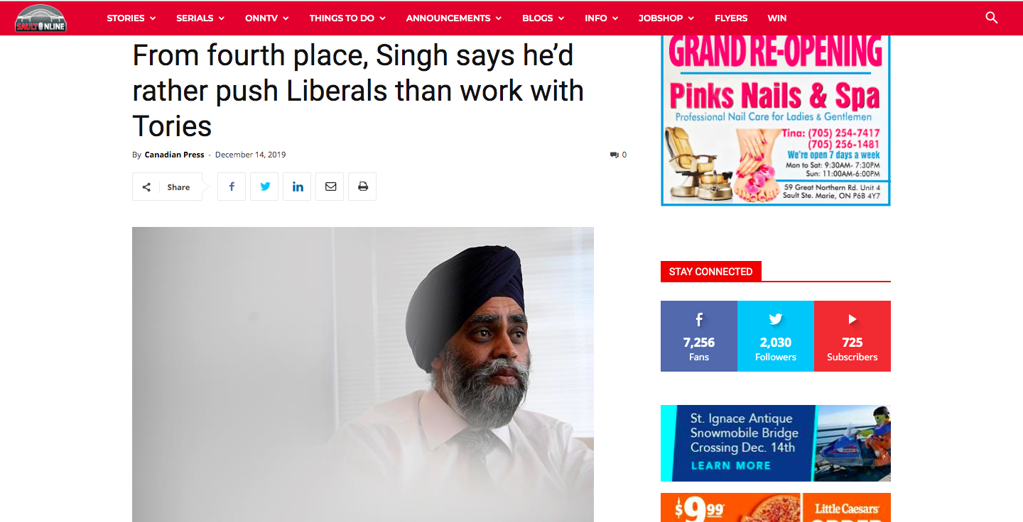 Ontario news outlet talks about Jagmeet Singh, but uses photo of Harjit Sajjan