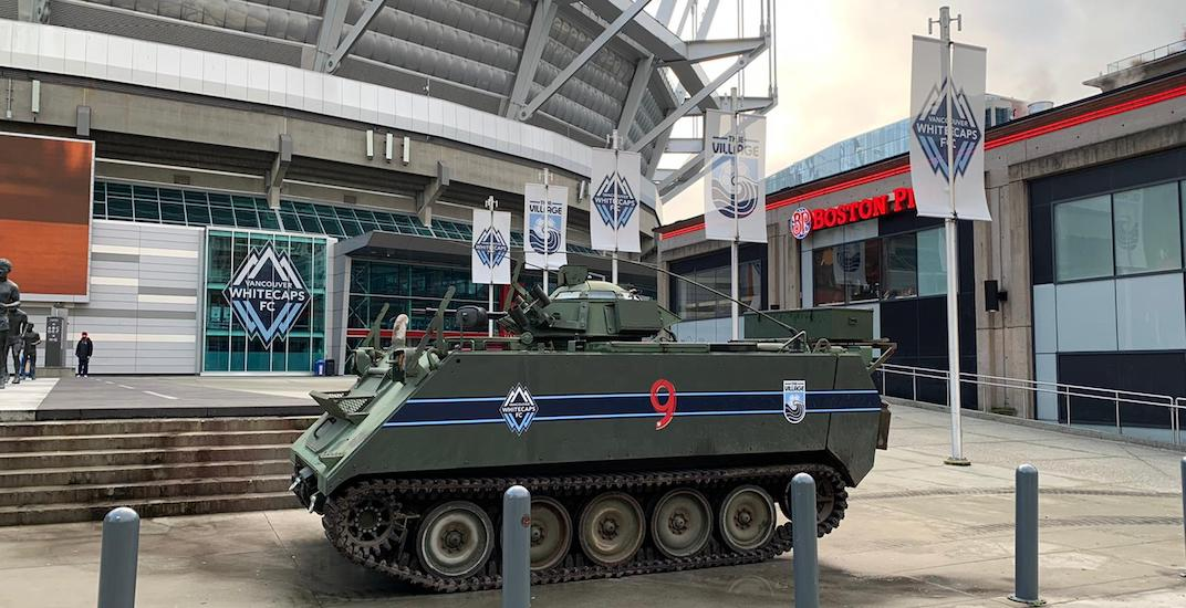There's a Whitecaps tank parked outside of BC Place right now